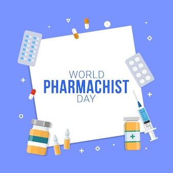 Ilustração em vetor comemoração do dia do farmacêutico mundial