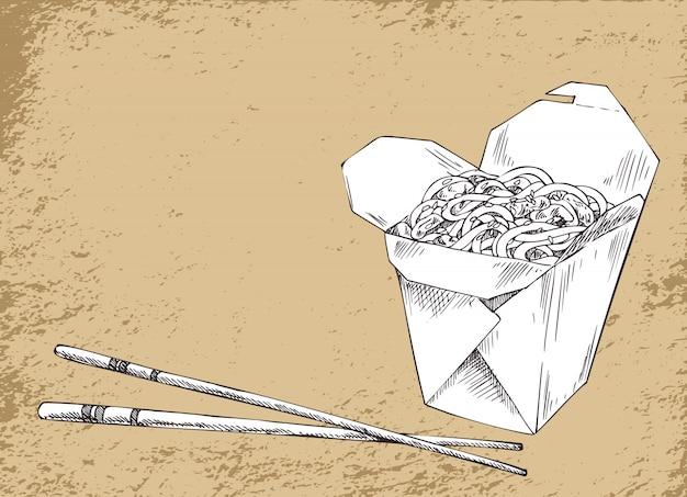 Ilustração em vetor comida asiática macarrão
