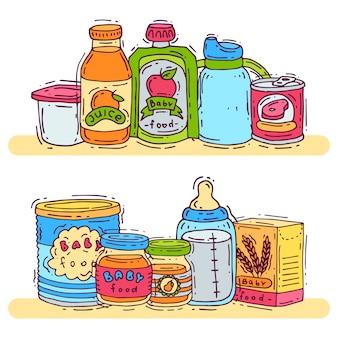 Ilustração em vetor comida complementar bebê.