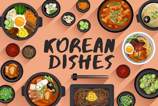 Ilustração em vetor comida coreana em vista superior