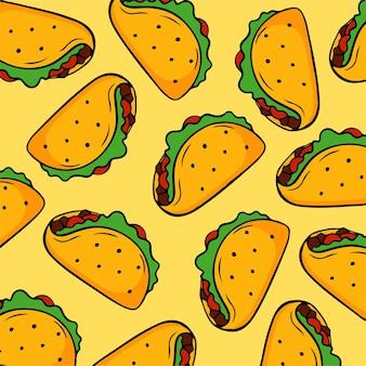Ilustração em vetor comida de fundo padrão taco