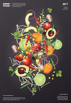 Ilustração em vetor comida ingrediente voador