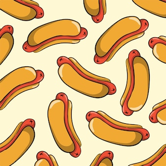 Ilustração em vetor comida quente padrão de fundo
