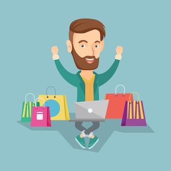 Ilustração em vetor compras on-line de homem.