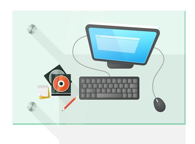 Ilustração em vetor computador moderno na mesa