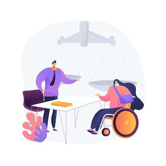 Ilustração em vetor conceito abstrato advogado de ferimento pessoal. serviços jurídicos, lesões físicas ou psicológicas, promotor criminal, documentos legais, argumentos de processos, metáforas abstratas de evidências.
