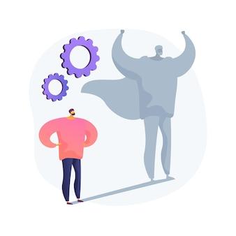 Ilustração em vetor conceito abstrato auto-estima. auto-respeito e valor próprio, confiança, traço de personalidade, avaliação subjetiva, valor pessoal, julgamento sobre si mesmo metáfora abstrata.