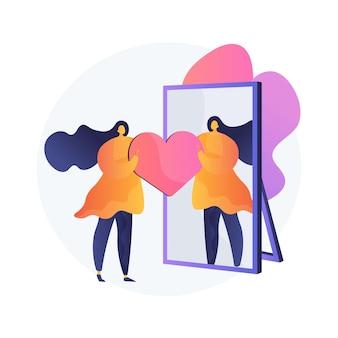 Ilustração em vetor conceito abstrato autoimagem. autoimagem positiva, retrato pessoal, papel social, imagem mental, traço de personalidade, psicologia individual, metáfora abstrata de percepção.