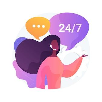 Ilustração em vetor conceito abstrato call center. tratamento de sistema de chamadas, centro de ajuda virtual, ponto de atendimento ao cliente, suporte ao produto, pesquisa de mercado e metáfora abstrata de software de comunicação.