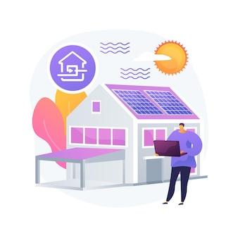 Ilustração em vetor conceito abstrato casa passiva. padrões de casa passivos, eficiência de aquecimento, redução da pegada ecológica, tecnologia de economia de energia, metáfora abstrata de casa sustentável.