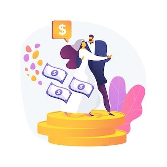 Ilustração em vetor conceito abstrato casamento de conveniência. casamento político, motivação financeira, velho marido rico, anéis de casamento, notas de dólar, tirar dinheiro da metáfora abstrata sênior.