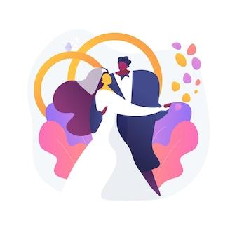 Ilustração em vetor conceito abstrato casamento misto. casamento inter-racial, diferentes raças e religiões, família multirracial feliz, casal misto, anéis de casamento, metáfora abstrata tradicional.
