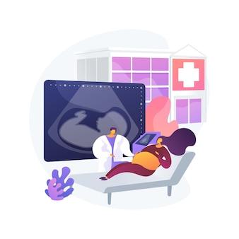 Ilustração em vetor conceito abstrato centro de apoio à gravidez. suporte médico de gravidez, centro de planejamento familiar, curso de maternidade, serviço de saúde, metáfora abstrata de assistência à jovem mãe.