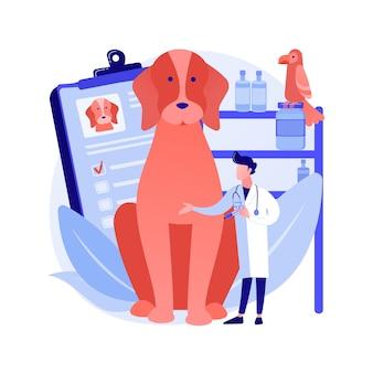 Ilustração em vetor conceito abstrato clínica veterinária. hospital veterinário, cirurgia, serviços de vacinação, clínica animal, cuidados médicos para animais de estimação, serviço veterinário, metáfora abstrata de equipamento diagnóstico.