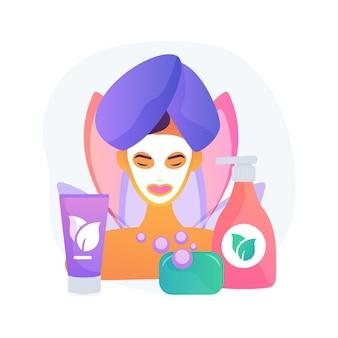 Ilustração em vetor conceito abstrato cosméticos orgânicos. cosméticos orgânicos para cuidados pessoais, produtos de maquiagem, ingrediente limpo natural, indústria da beleza, tratamento para a pele, metáfora abstrata livre de parabenos.