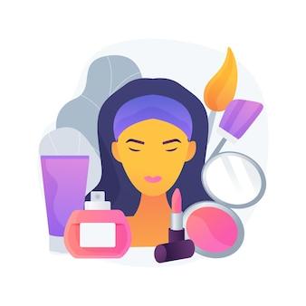 Ilustração em vetor conceito abstrato cosmetologia. skincare, cosmético natural, levantamento de olhos, remoção de rugas, dermatologia, spa, tratamento facial, beleza de mulher, metáfora abstrata de terapia anti-idade.