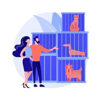 Ilustração em vetor conceito abstrato de abrigo de animais. resgates de animais, processo de adoção de animais de estimação, escolha de um amigo, salvamento de abusos, doação, serviço de abrigo, metáfora abstrata de organização voluntária.