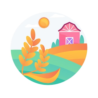 Ilustração em vetor conceito abstrato de agricultura natural. abordagem de agricultura ecológica, fertilidade, agricultura orgânica e sustentável, biodiversidade natural local, metáfora abstrata da agroindústria.