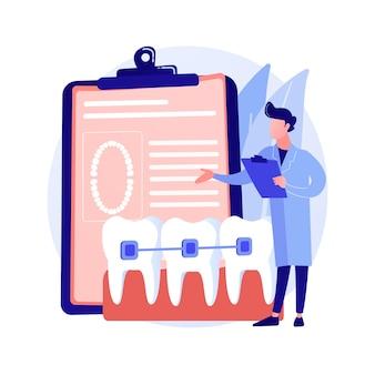 Ilustração em vetor conceito abstrato de aparelho dentário. procedimento odontológico, método de correção de aparelho, tratamento de dentes apinhados, problema ortodôntico, alinhador e retentor dentário, metáfora abstrata de braquete.