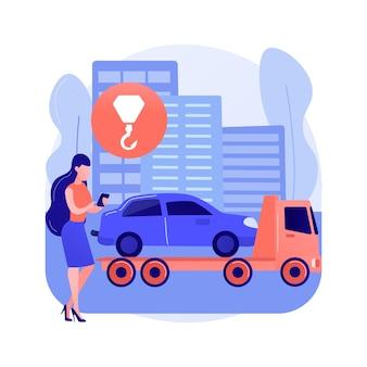 Ilustração em vetor conceito abstrato de assistência na estrada. reparação de automóveis à beira da estrada, assistência 24 horas, serviço de reboque, mudança de pneu furado, emergência de todos os veículos, avaria do caminhão ajuda a metáfora abstrata.