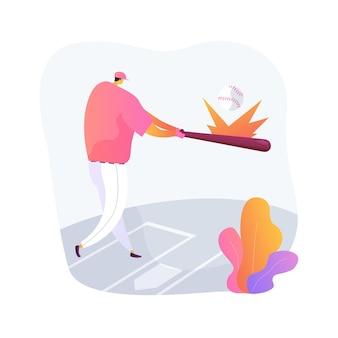Ilustração em vetor conceito abstrato de beisebol. jogo de esporte, arremessador profissional, estádio de atletismo, campo de grama, time campeão, uniforme do jogador, competição de apostas esportivas, metáfora abstrata de ingressos.