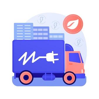 Ilustração em vetor conceito abstrato de caminhões elétricos. logística ecológica, transporte moderno, motor elétrico, caminhão a bateria, metáfora abstrata do veículo de entrega de carga sustentável.