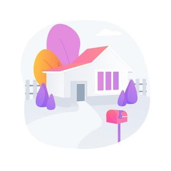 Ilustração em vetor conceito abstrato de casa destacada. moradia unifamiliar, agregado familiar autónomo, edifício autónomo, propriedade individual de terra, unidade de habitação autónoma metáfora abstrata.