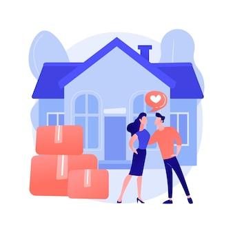 Ilustração em vetor conceito abstrato de coabitação. morando juntos, acordo de coabitação, relacionamento de direito comum, lindo casal, colega de quarto da faculdade, movendo-se juntos metáfora abstrata.