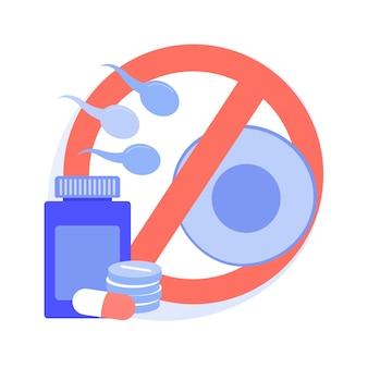 Ilustração em vetor conceito abstrato de contracepção de emergência. contracepção hormonal, anticoncepcional de emergência, planejamento familiar, medicamento para controle de gravidez, metáfora abstrata de efeitos colaterais.