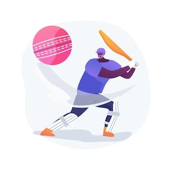 Ilustração em vetor conceito abstrato de críquete. jogador profissional, equipamento esportivo, campeonato de críquete, campo de recreio, liga internacional, bola de jogo, metáfora abstrata de estádio ao ar livre.