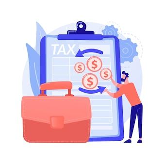 Ilustração em vetor conceito abstrato de declarações de imposto de renda corporativa. formulário de retorno de renda da empresa, contabilidade corporativa, preparação de impostos, atividade financeira, metáfora abstrata de tributação corporativa.