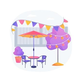 Ilustração em vetor conceito abstrato de decoração de festa no jardim. ideias para festas ao ar livre, decoração de mesa floral, espaço de jantar, paisagista, iluminação de quintal, metáfora abstrata de luzes de fada.
