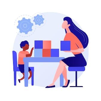 Ilustração em vetor conceito abstrato de desenvolvimento socioemocional. treinamento pré-escolar, desenvolvimento de habilidades sociais na primeira infância, gerenciamento emocional, metáfora abstrata de atividades de treinamento de crianças.