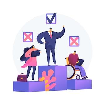 Ilustração em vetor conceito abstrato de discriminação no local de trabalho. discriminação contra funcionário, candidato a emprego, oportunidades iguais de emprego, assédio sexual, preconceito, metáfora abstrata.