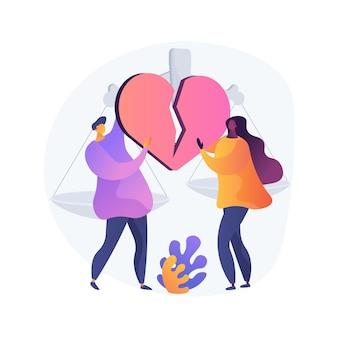 Ilustração em vetor conceito abstrato de divórcio. dissolução do casamento, separação, por meio da sentença de divórcio, conflito entre marido e mulher, separação saudável, briga de pais, separação metáfora abstrata.
