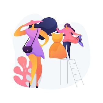 Ilustração em vetor conceito abstrato de estilista pessoal. consultor de compras, blogueiro de beleza, alfaiate de roupas de negócios, moda para espaço de trabalho, estilo de homem e mulher, metáfora abstrata de camarim.