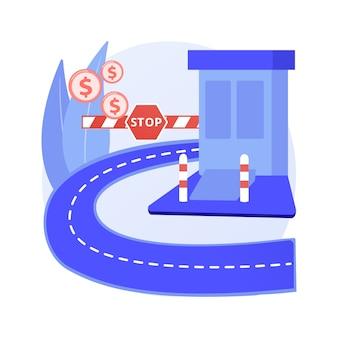Ilustração em vetor conceito abstrato de estrada com pedágio. taxa de pedágio, via expressa de pedágio, rodovia paga, estrada principal, cartão de passe de entrada de rodovia, cobrador, metáfora abstrata de ponto de controle de entrada.