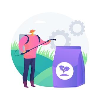 Ilustração em vetor conceito abstrato de fertilizante de grama. serviços de jardinagem, crescimento rápido, cor verde, manutenção do gramado, suplemento, nutrientes do solo, metáfora abstrata do espalhador de grânulos.