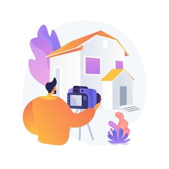 Ilustração em vetor conceito abstrato de fotografia imobiliária. serviços de fotografia imobiliária, propaganda de agência imobiliária, preparação de casas, edição de fotos, metáfora abstrata de listagem online.