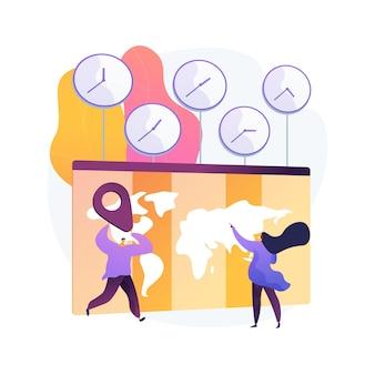 Ilustração em vetor conceito abstrato de fusos horários. padrão de tempo, coordenação de negócios internacionais, gerenciamento de reuniões, conversor utc, gmt, calculadora do relógio mundial, metáfora abstrata do jet lag.
