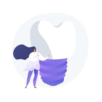 Ilustração em vetor conceito abstrato de implantes de dentaduras de dentes. implante de dentadura, clareamento dos dentes, substituição permanente do dente, odontologia estética, metáfora abstrata do procedimento de tratamento ortodôntico.