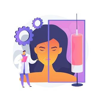 Ilustração em vetor conceito abstrato de injeção de botox. procedimento de beleza, preenchimento hialurônico e colágeno, levantamento de rosto de mulher, tratamento anti-envelhecimento, medicina estética, metáfora abstrata de rugas de olhos.