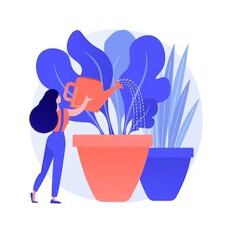 Ilustração em vetor conceito abstrato de jardinagem doméstica. cultivar seus próprios vegetais dentro de casa, regar flores, jardinagem ecológica, reconectar-se com a natureza, ideia de ficar em casa, plantar sementes de metáfora abstrata.
