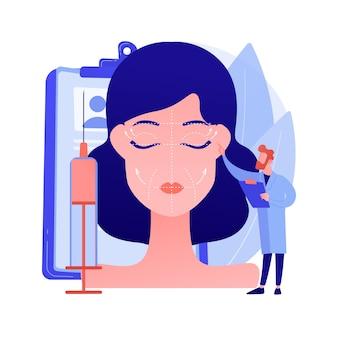 Ilustração em vetor conceito abstrato de levantamento de rosto. procedimento de ritidectomia, cirurgia de lifting facial, serviço de lifting facial, tratamento anti-idade não cirúrgico, metáfora abstrata de rejuvenescimento da pele facial.