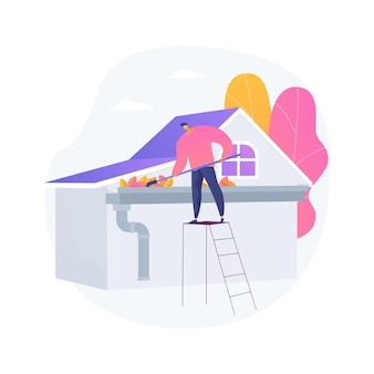 Ilustração em vetor conceito abstrato de limpeza de calha. manutenção doméstica, telhado, negócio de construção, reparo de telhado, lavagem elétrica, remoção de folha e musgo, cano de downspout, metáfora abstrata de outono.