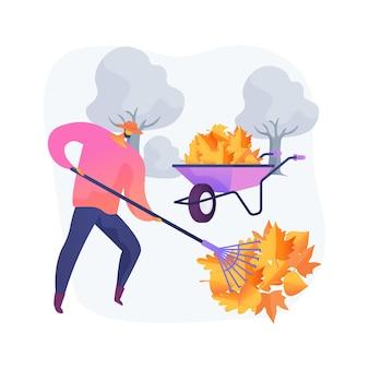 Ilustração em vetor conceito abstrato de limpeza outono. manutenção de jardins, cobertura morta e remoção de folhas, cuidados com o gramado, canteiro de vegetais, planta de cobertura, calha limpa, metáfora abstrata de trabalho de quintal no outono.