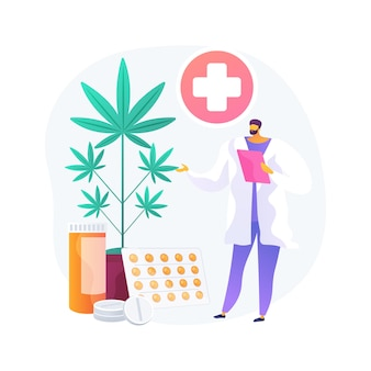 Ilustração em vetor conceito abstrato de maconha medicinal. cannabis médica, drogas canabinóides, tratamento de doenças e condições, alívio da dor do câncer, mercado de cânhamo, metáfora abstrata de cultivo.
