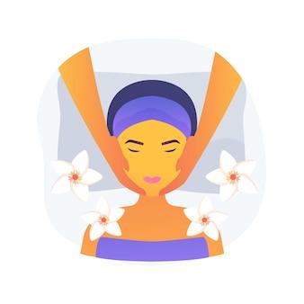 Ilustração em vetor conceito abstrato de massagem facial. tratamento de spa, levantamento de rosto e pescoço, cuidados profissionais da pele, bem-estar e relaxamento, clínica de cosmetologia, salão tailandês, metáfora abstrata de beleza.