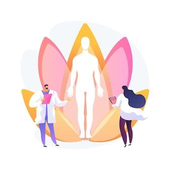 Ilustração em vetor conceito abstrato de medicina holística. medicina natural alternativa, terapia mental holística, tratamento de corpo inteiro, prática de saúde, doença, metáfora abstrata do médico integrativo.