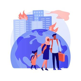 Ilustração em vetor conceito abstrato de migração forçada. movimento de pessoas, deslocamento forçado, grupo de refugiados, fugir da guerra, viajar com malas, voltar para casa, metáfora abstrata de deslocados.